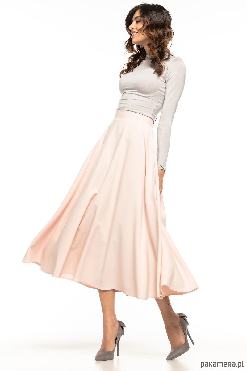Zwiewna spódnica MIDI, T260, biały spódnice midi