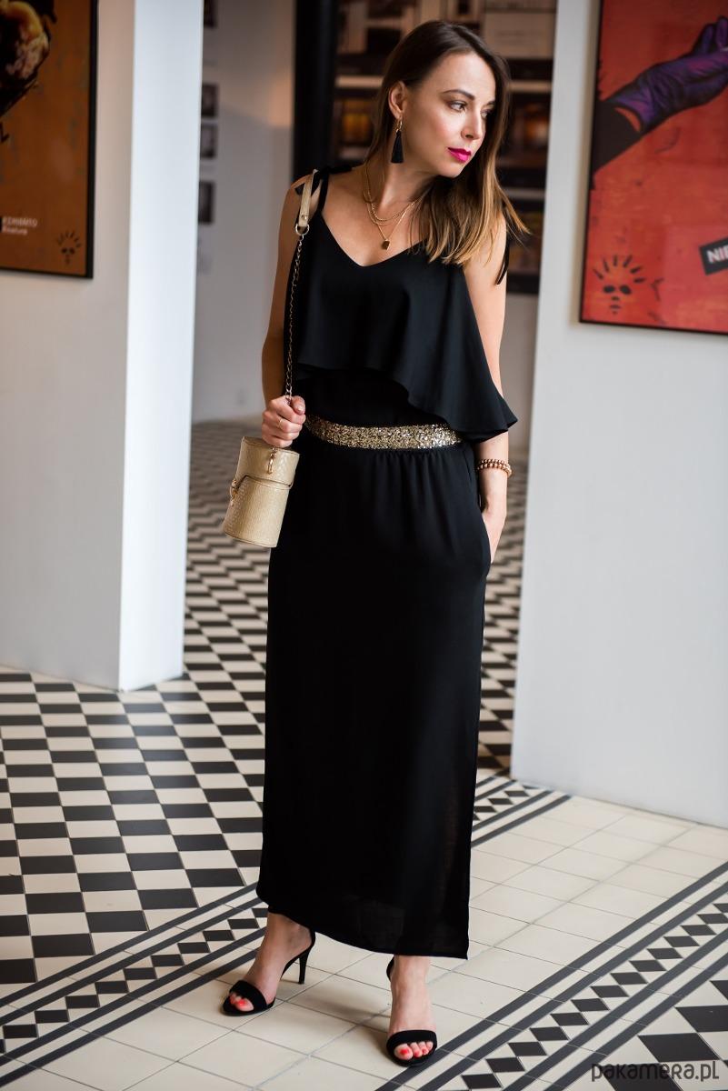 Sukienka z paskiem BLACK FRILL MAXI