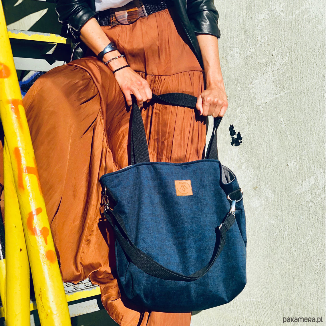Duża torba shopperka Mili Duo granatowa
