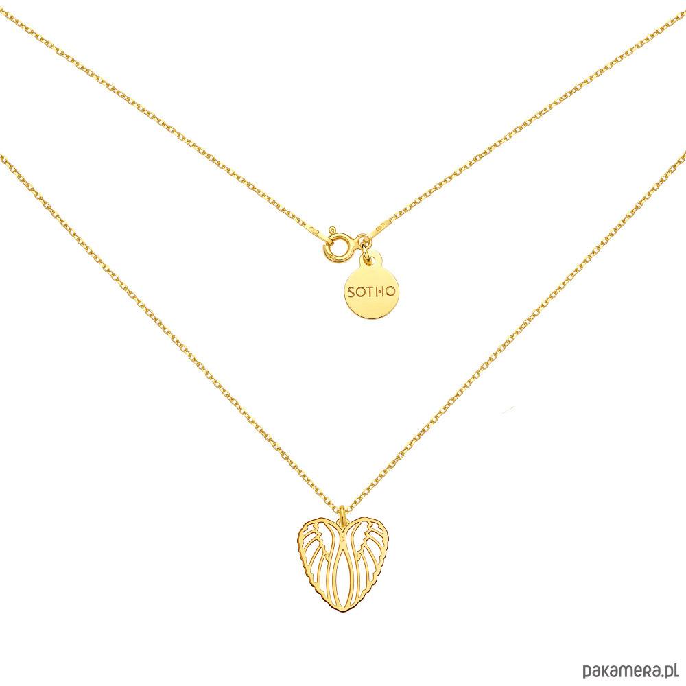 2beaa41fc3e96a Złoty naszyjnik ze skrzydłami w kształcie serca - naszyjniki - inne ...