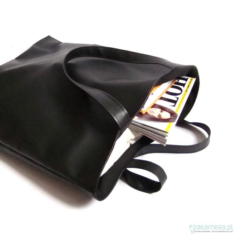 bb5ff38121843 shopper bag - czarna - torby XXL - damskie - Pakamera.pl