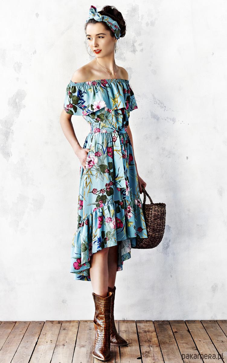 894c5b4d558651 Sukienka z falbaną w kwiaty - Moda - sukienki - midi - Pakamera.pl