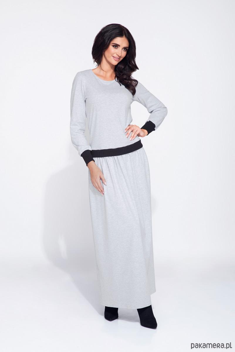 Szara sukienka z bluzowa górą