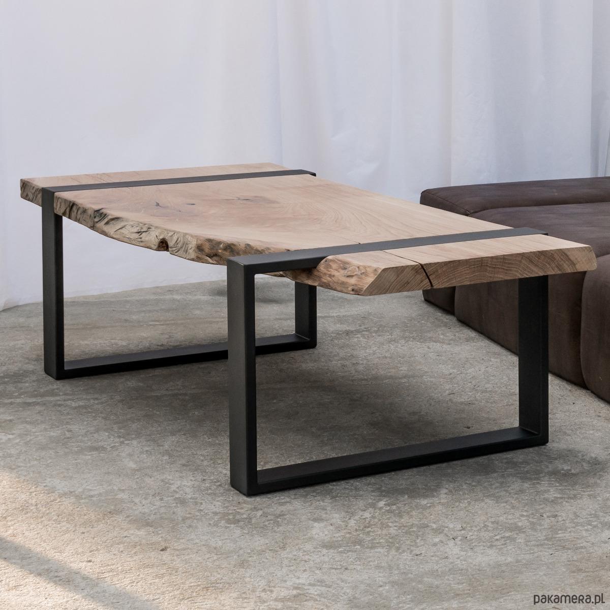 Młodzieńczy Stolik kawowy lity dębowy Drewno Design Loft Dąb - meble - stoły i LR55