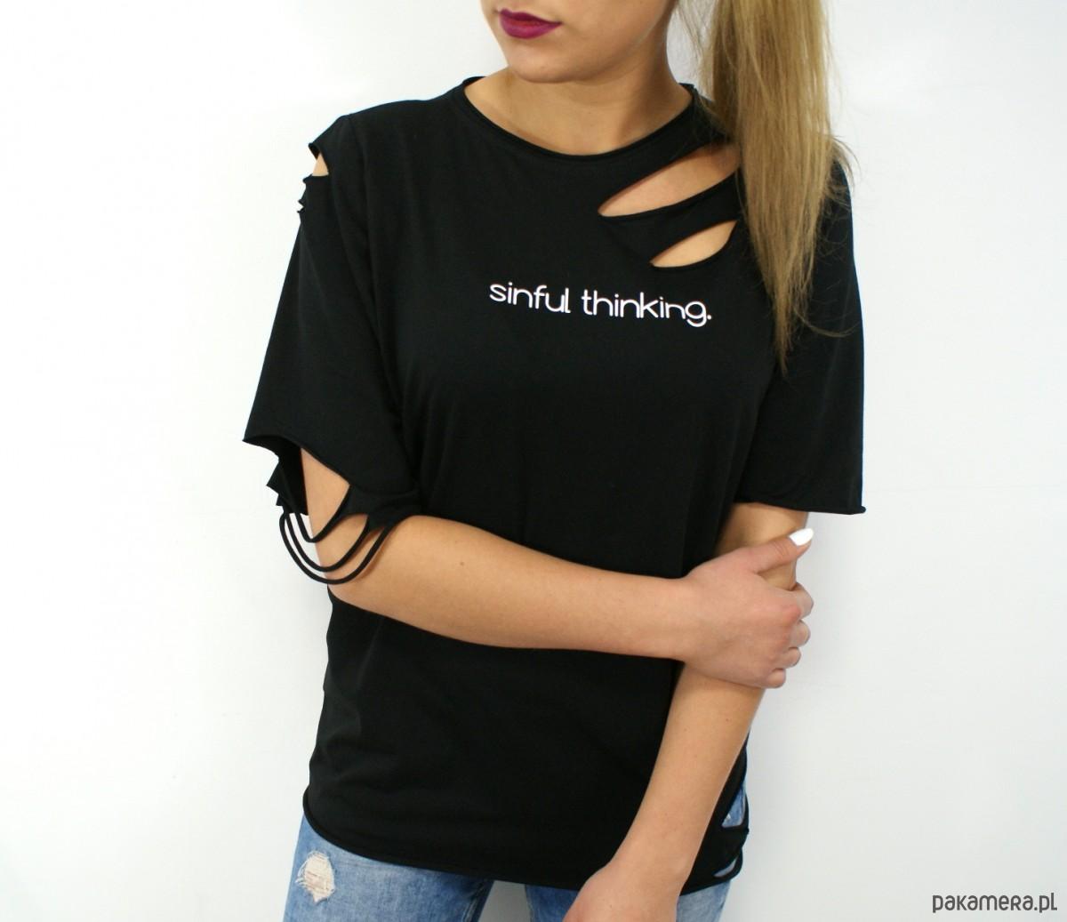 3b1eb003d T-shirt SINFUL THINKING - bluzki - t-shirty - damskie - Pakamera.pl