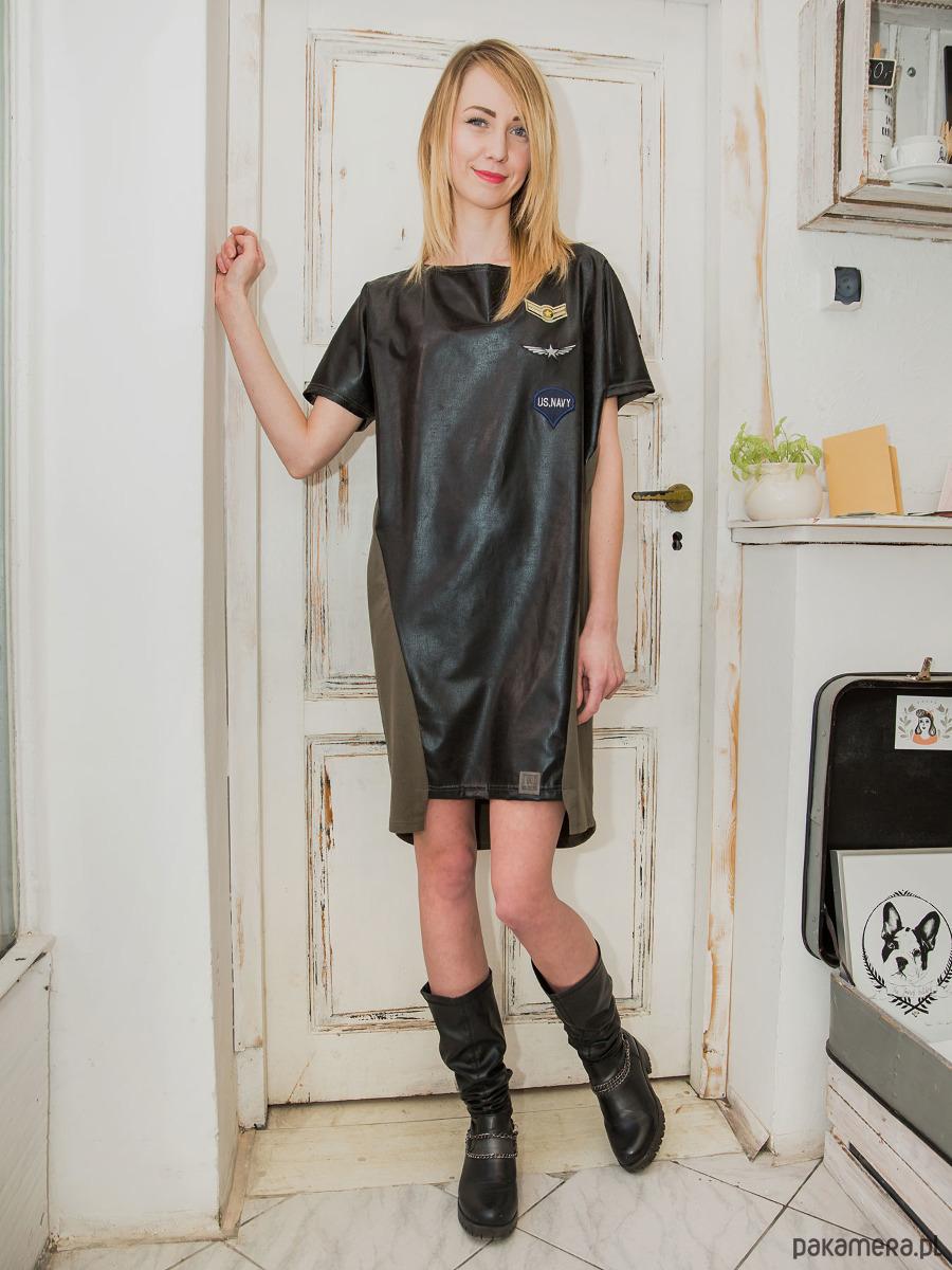Sukienka MILITARY LOOK khaki/czarna