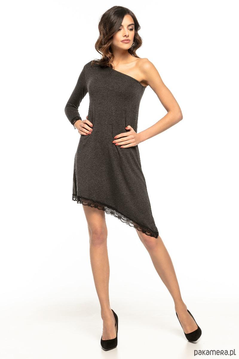 e40c41a4dd sukienki - mini-Sukienka asymetryczna z odkrytym ramieniem