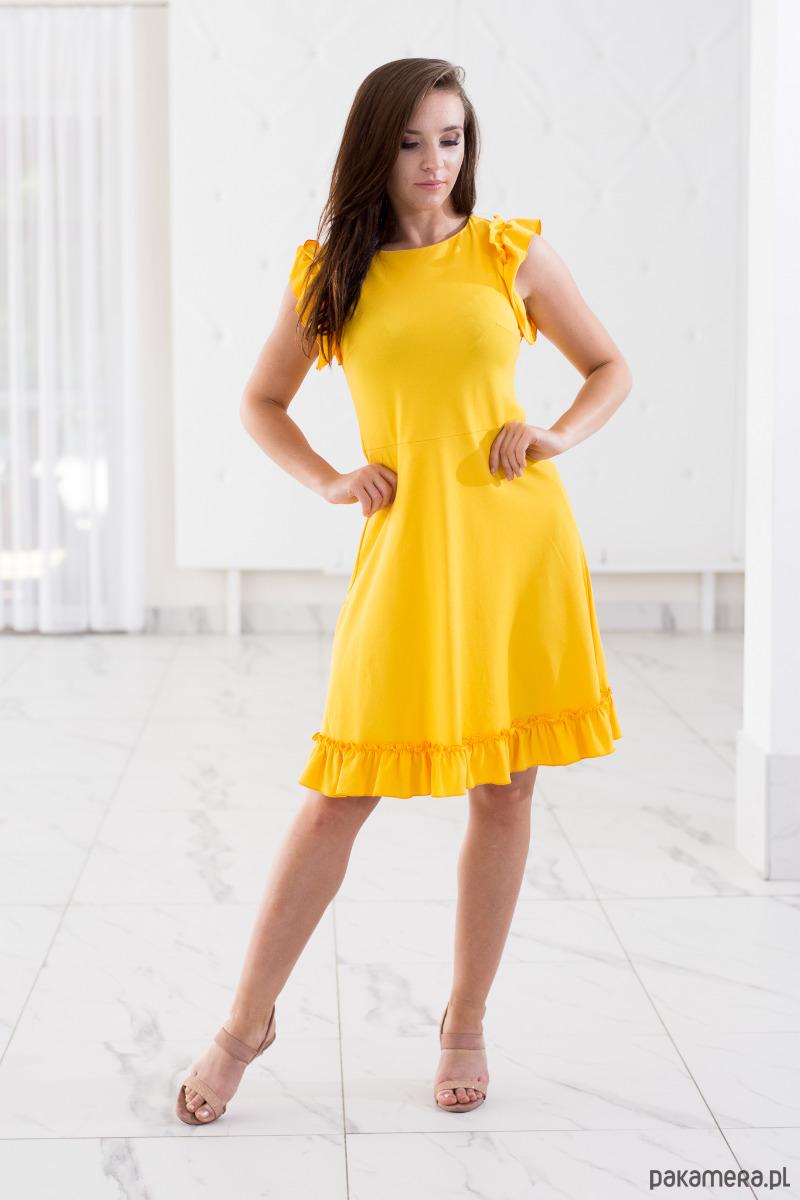 e145a3111d8c45 Sukienka z falbanami ALICE żółta - Moda - sukienki - midi - Pakamera.pl