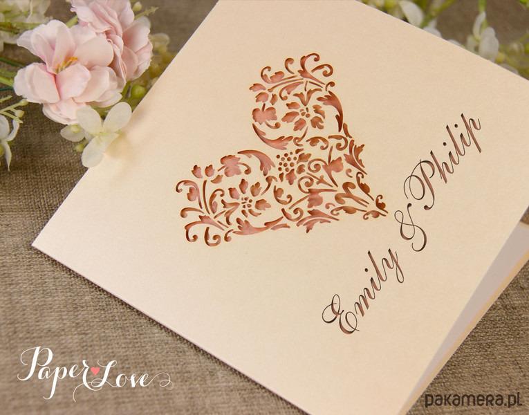 Zaproszenia ślubne Koronkowe Serce ślub Zaproszenia Kartki