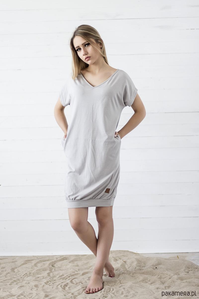 Sukienka V-Neck - szary