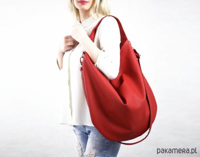 ce96c8a9f8267 torby na ramię - damskie-Czerwona torba w kształcie worka z eko skóry