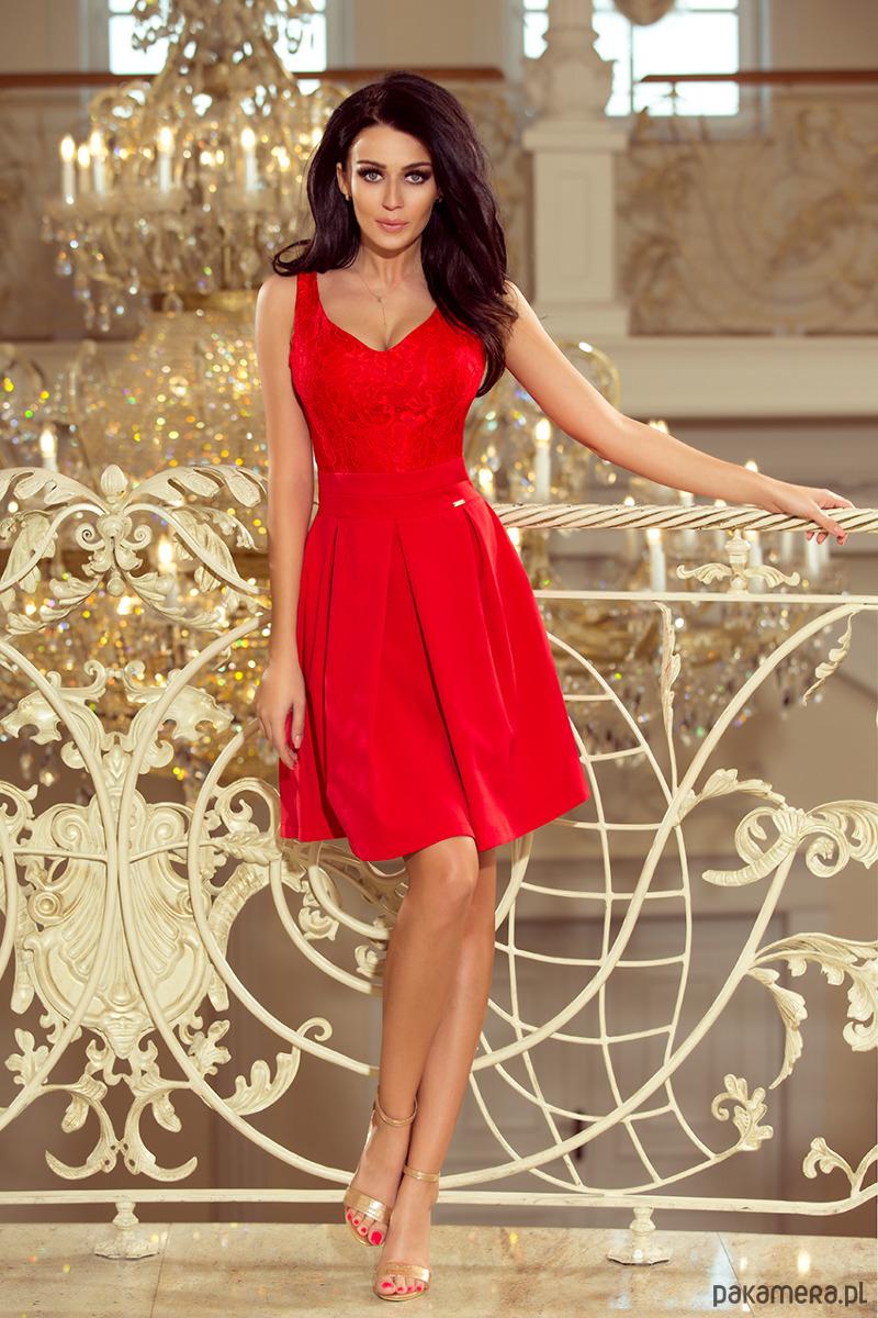 0015401f7b5d 208-2 Sukienka z koronkowym dekoltem - czerwona - sukienki - midi -  Pakamera.pl