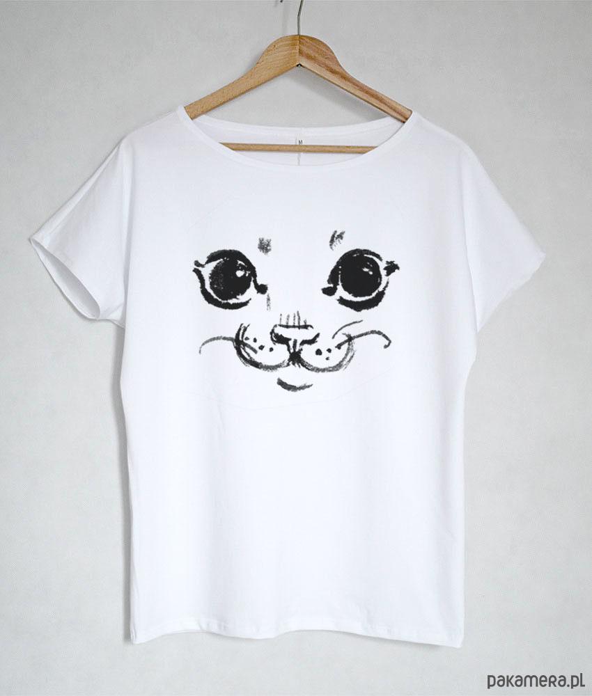 KOT koszulka bawełniana biała z nadrukiem