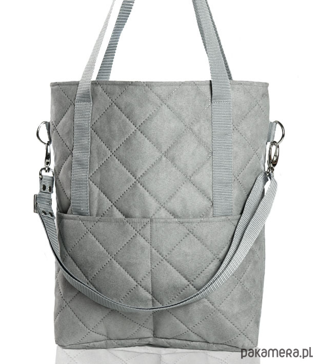 ef981a94a9ff2 torby na ramię - damskie-Szara zamszowa torba A4 w kształcie prostokąta