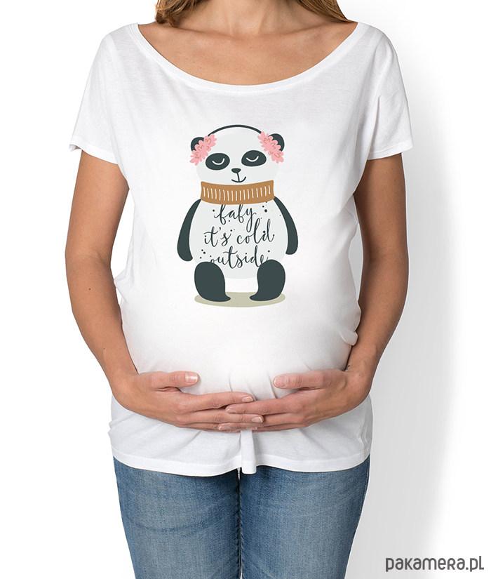 koszulka damska, ciążowa z misiem pandą