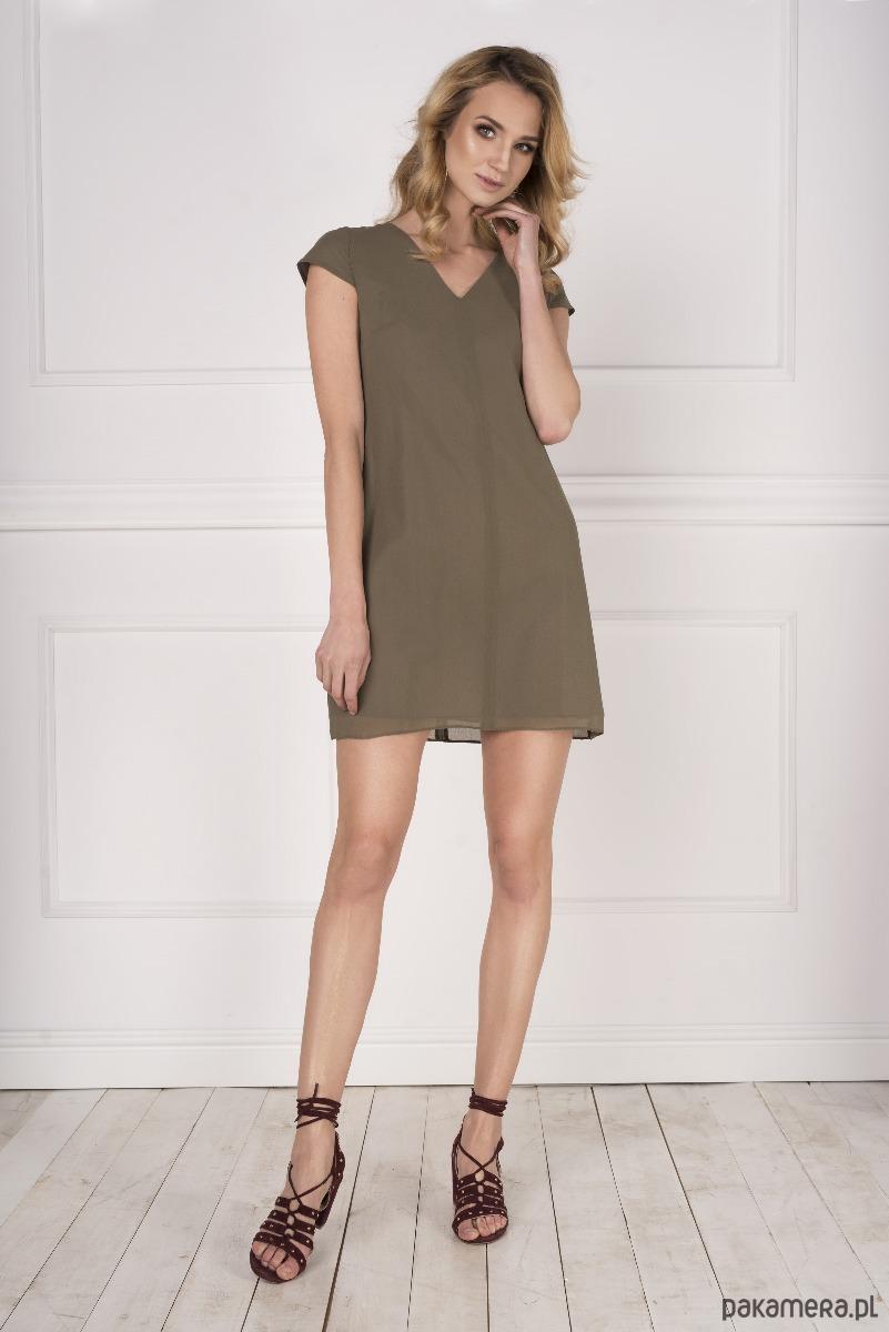 Trapezowa sukienka khaki