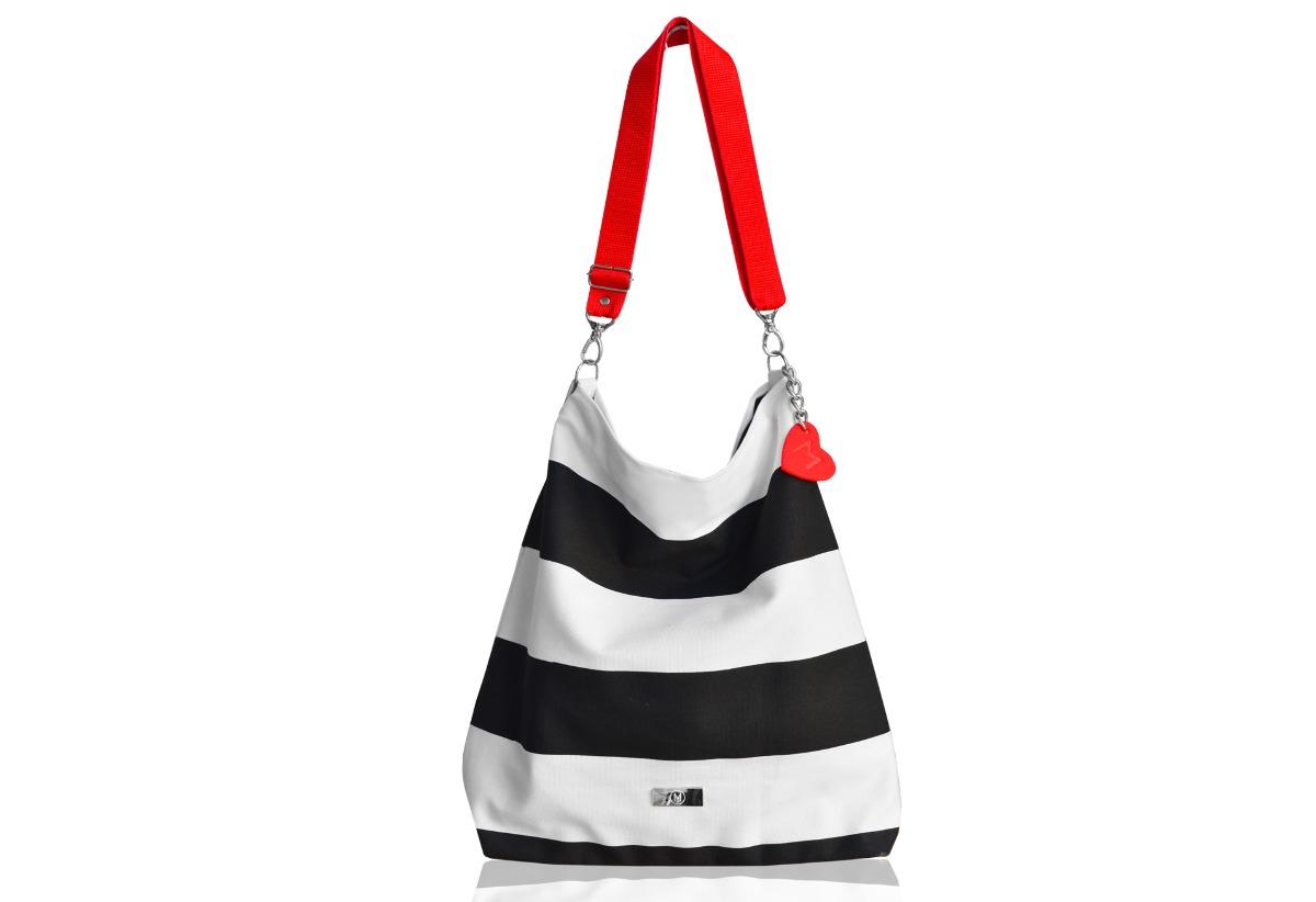 32be7f0b39db3 torby na ramię - damskie-Marynarski worek w pasy z blaszką/ torba plażowa