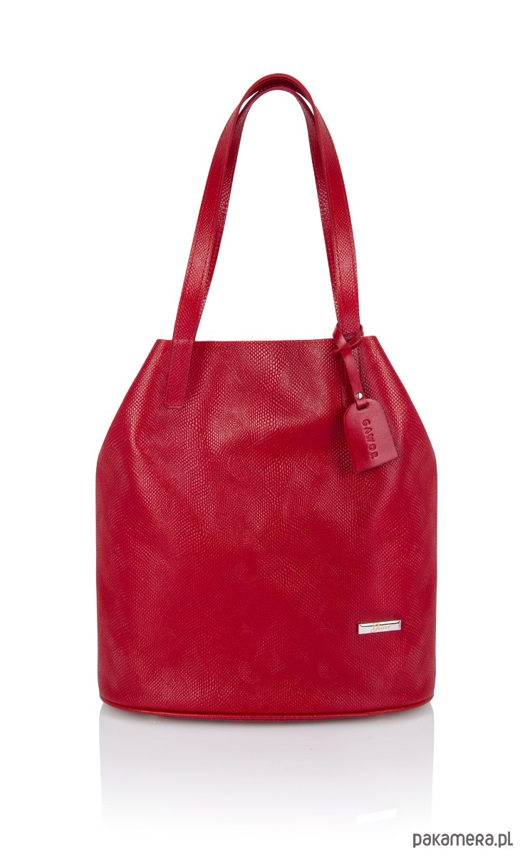 c118f4088cc2c torby na zakupy - damskie-Skórzany czerwony worek Sofia tłoczenie wąż