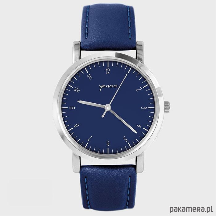 Topnotch Zegarek - Simple Elegance - granatowy, skórzany - zegarki GD19
