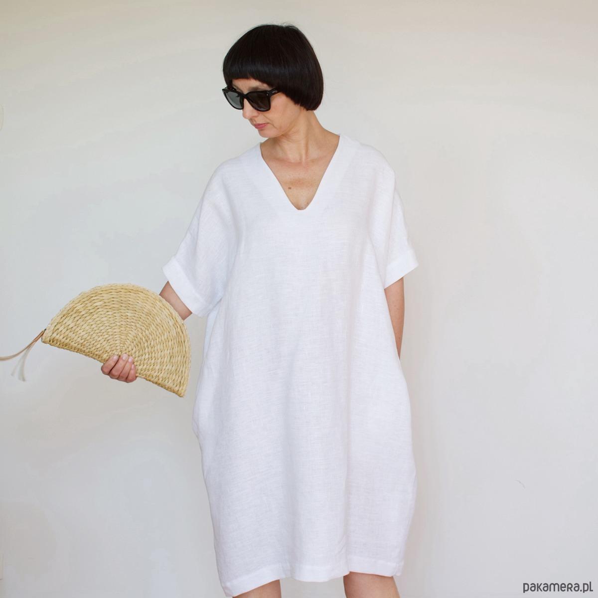 f82d0ee28f6d1a Lniana sukienka HARU - biała - Moda - sukienki - midi - Pakamera.pl
