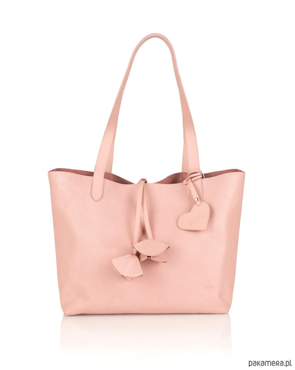 2a2ca9132b713 torby na ramię - damskie-Skórzana torebka damska różowa Catherine G-182