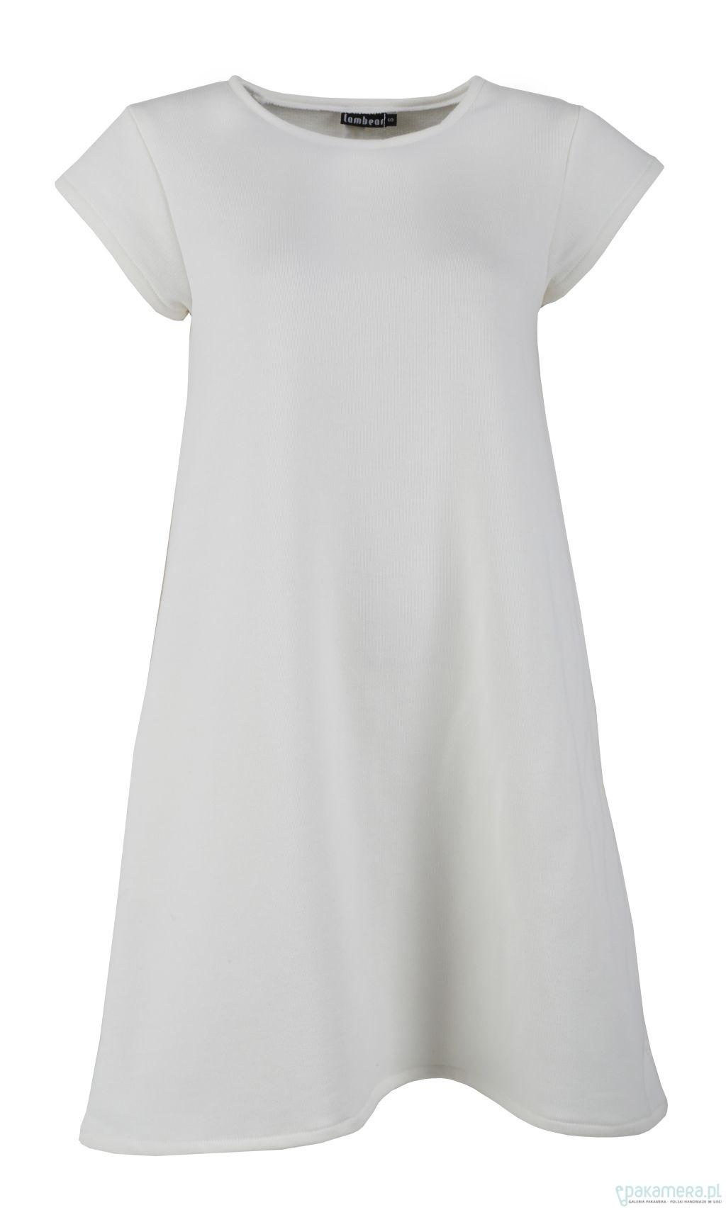 b4f96d586e Biała sukienka dzianinowa A - sukienki - midi - Pakamera.pl