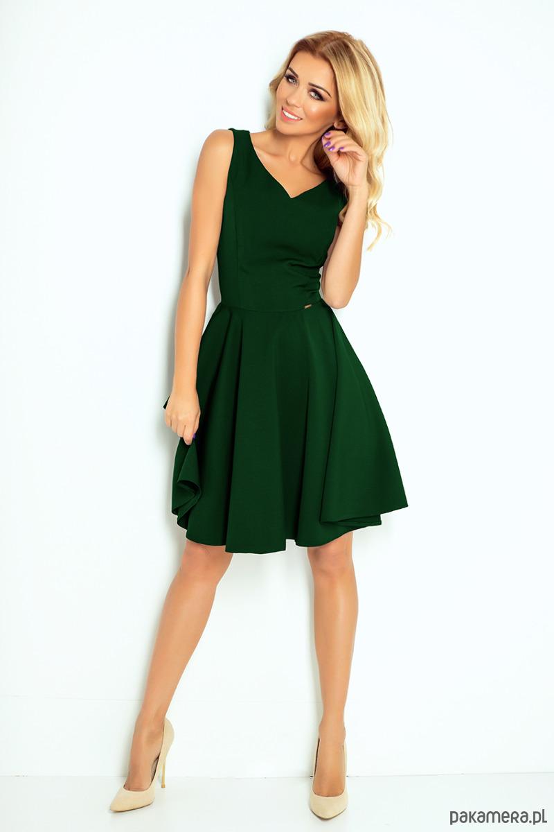 98ea46854a 114-10 Rozkloszowana sukienka z dekoltem -zieleń - sukienki - midi -  Pakamera.pl