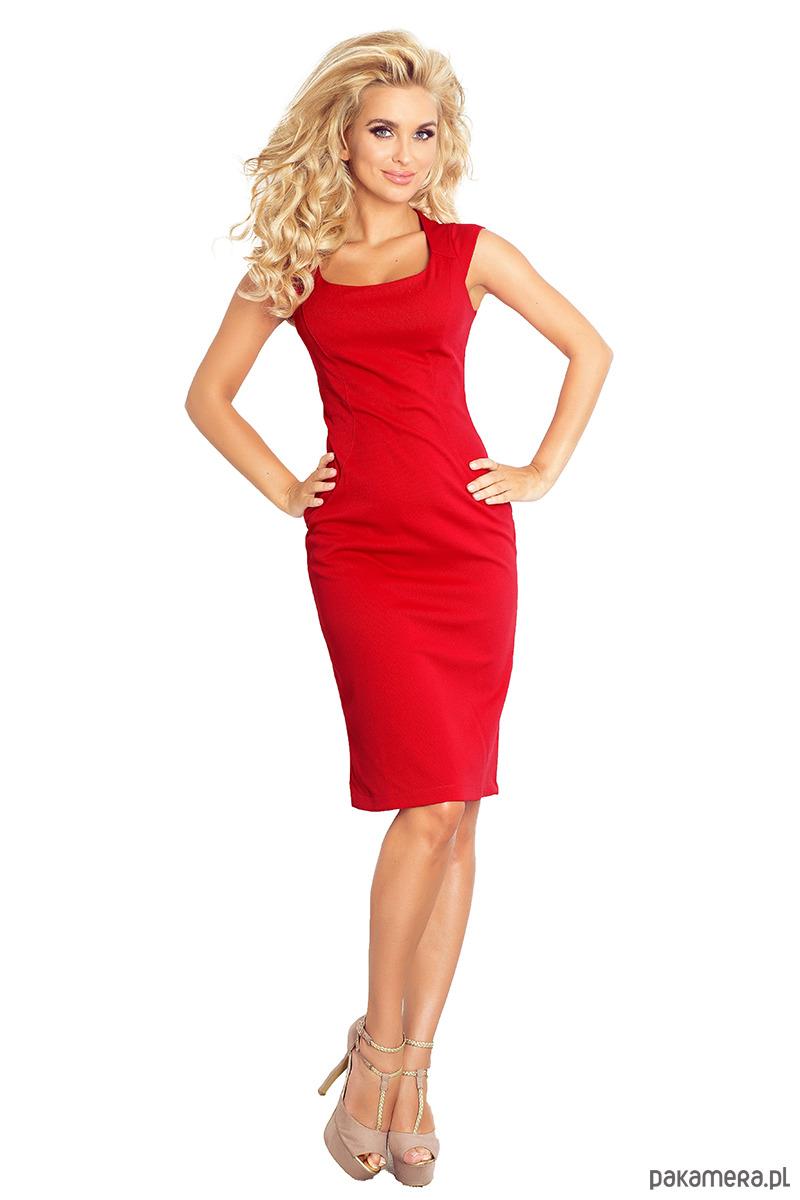 53-17A Nowa dopasowana sukienka - czerwona
