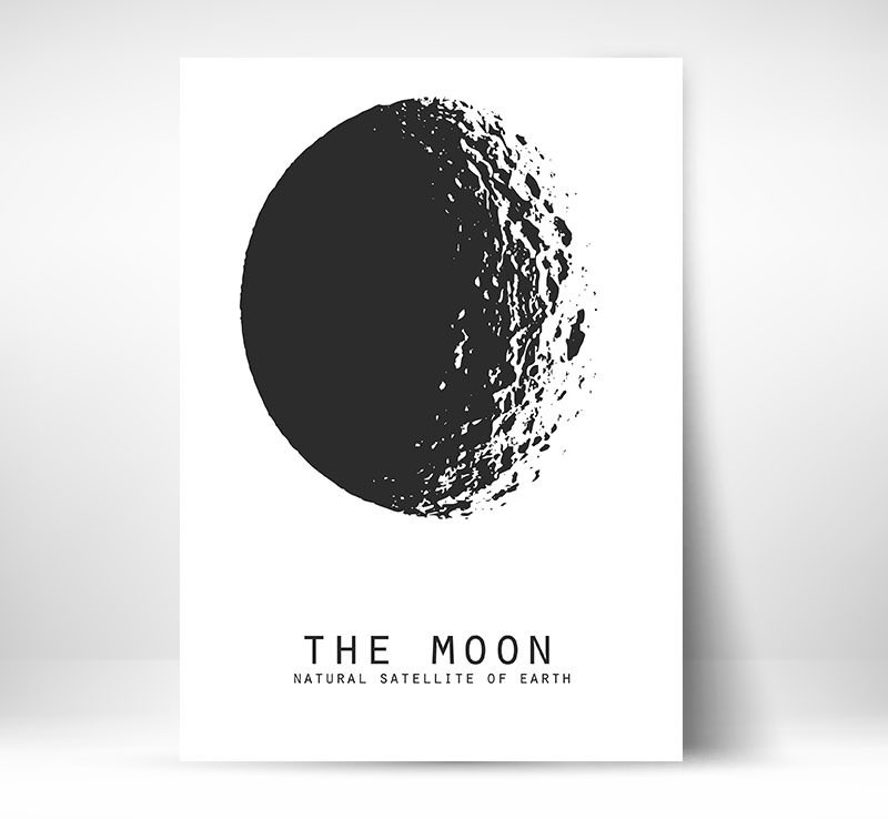 Moon Natural Satelite Plakat Na ścianę A4 Pakamerapl