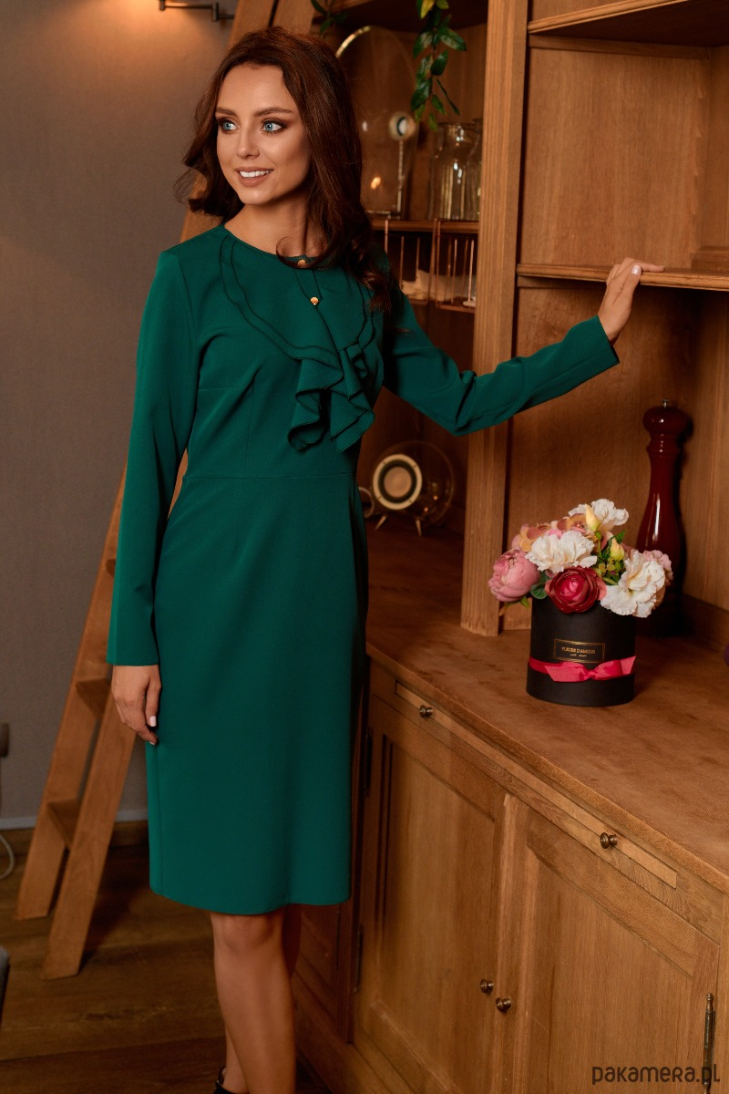 611565da58 Sukienka biznesowa z żabotem L270 - zielony - sukienki - różne ...