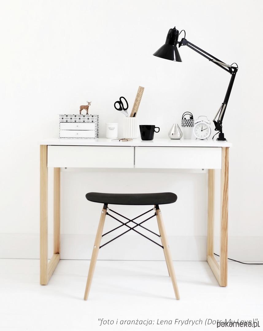 Modernistyczne Biurko z 2 szufladami, nogi drewniane 100x50 - meble - biurka JW47