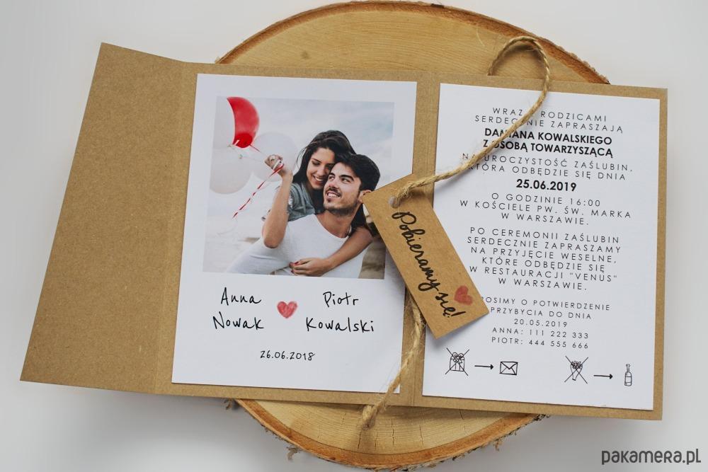 Zaproszenie Eco Folder Ze Zdjęciem ślub Zaproszenia Kartki