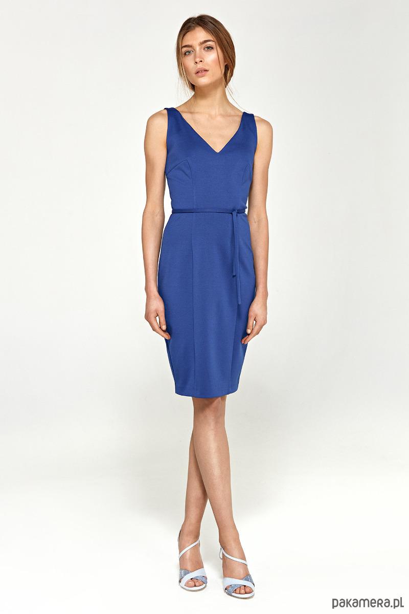 Sukienka z dekoltem na plecach s94 - niebieski