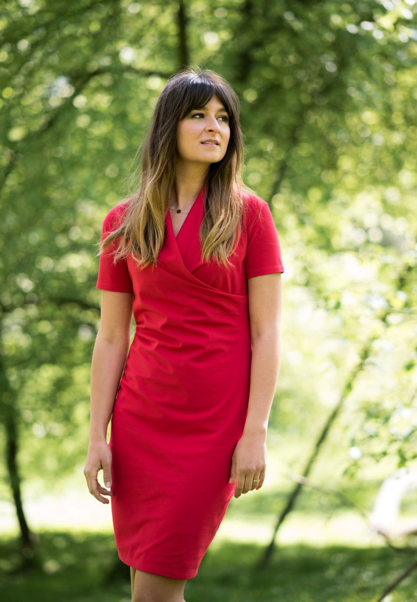 Sukienka kopertowa do karmienia czerwona