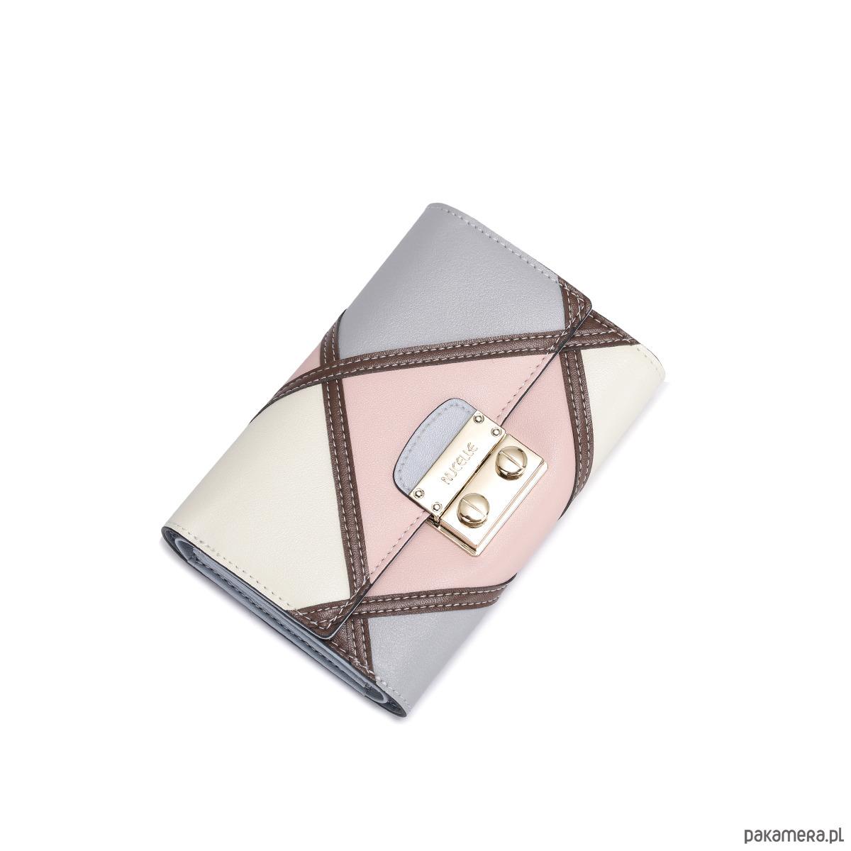 8aecbcaf7882e Kobiecy kontrastowy skórzany portfel Różowy - portfele - damskie ...