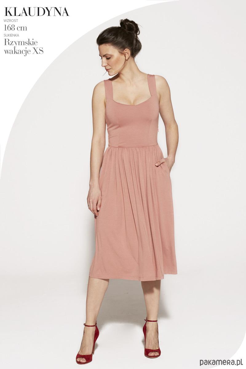 sukienka midi RZYMSKIE WAKACJE szminkowy róż