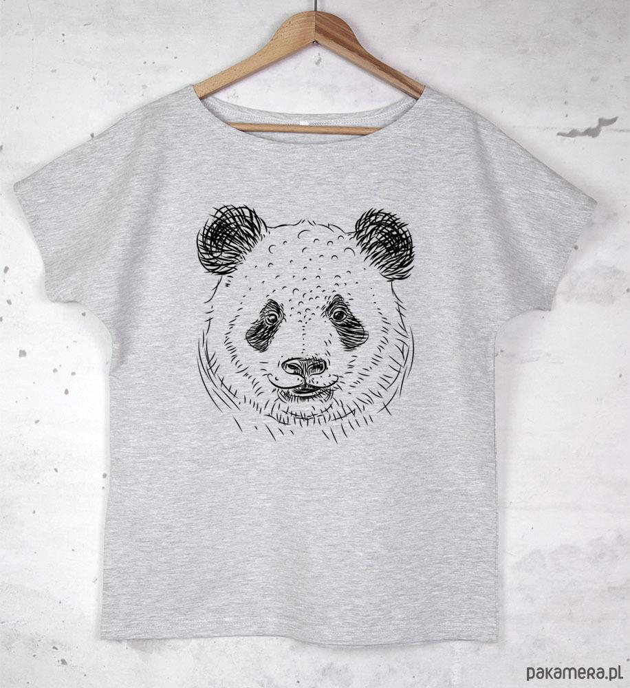 PANDA koszulka bawełniana szara z nadrukiem