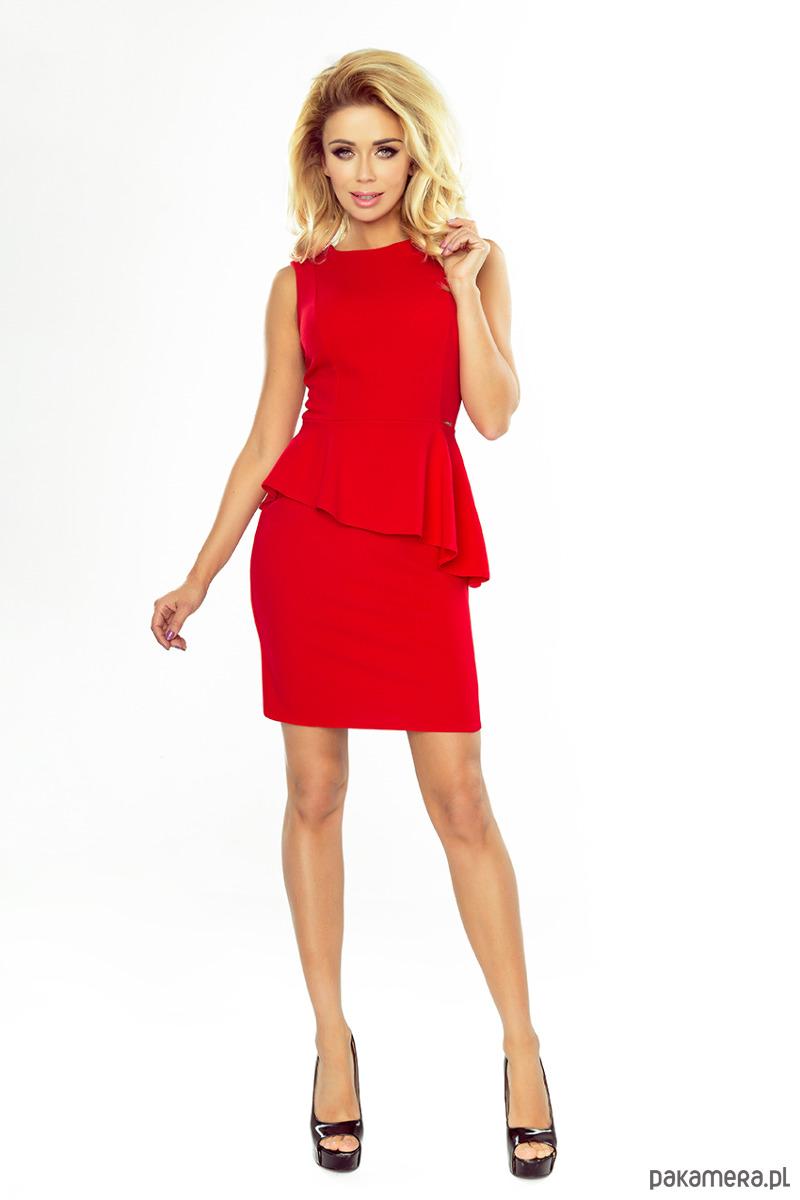 8c6f13cd03 178-1 Asymetryczna sukienka z baskinką czerwona - sukienki - mini ...