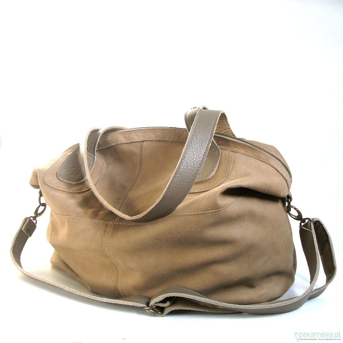Duża skórzana beżowa torba