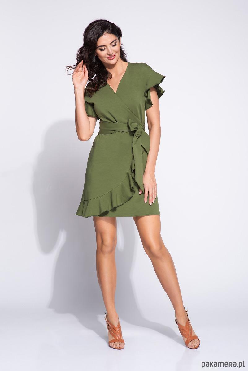b0950f96cc Zielona oliwkowa sukienka z falbankami - sukienki - midi - Pakamera.pl