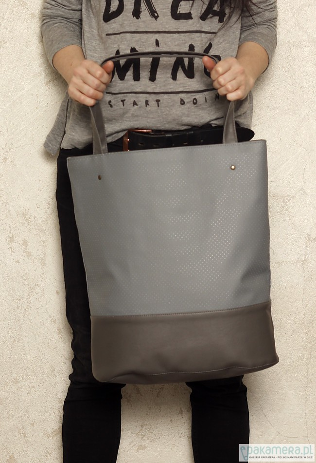 08b9c43e8aaf7 Shopper bag xl szara - torby na ramię - damskie - Pakamera.pl