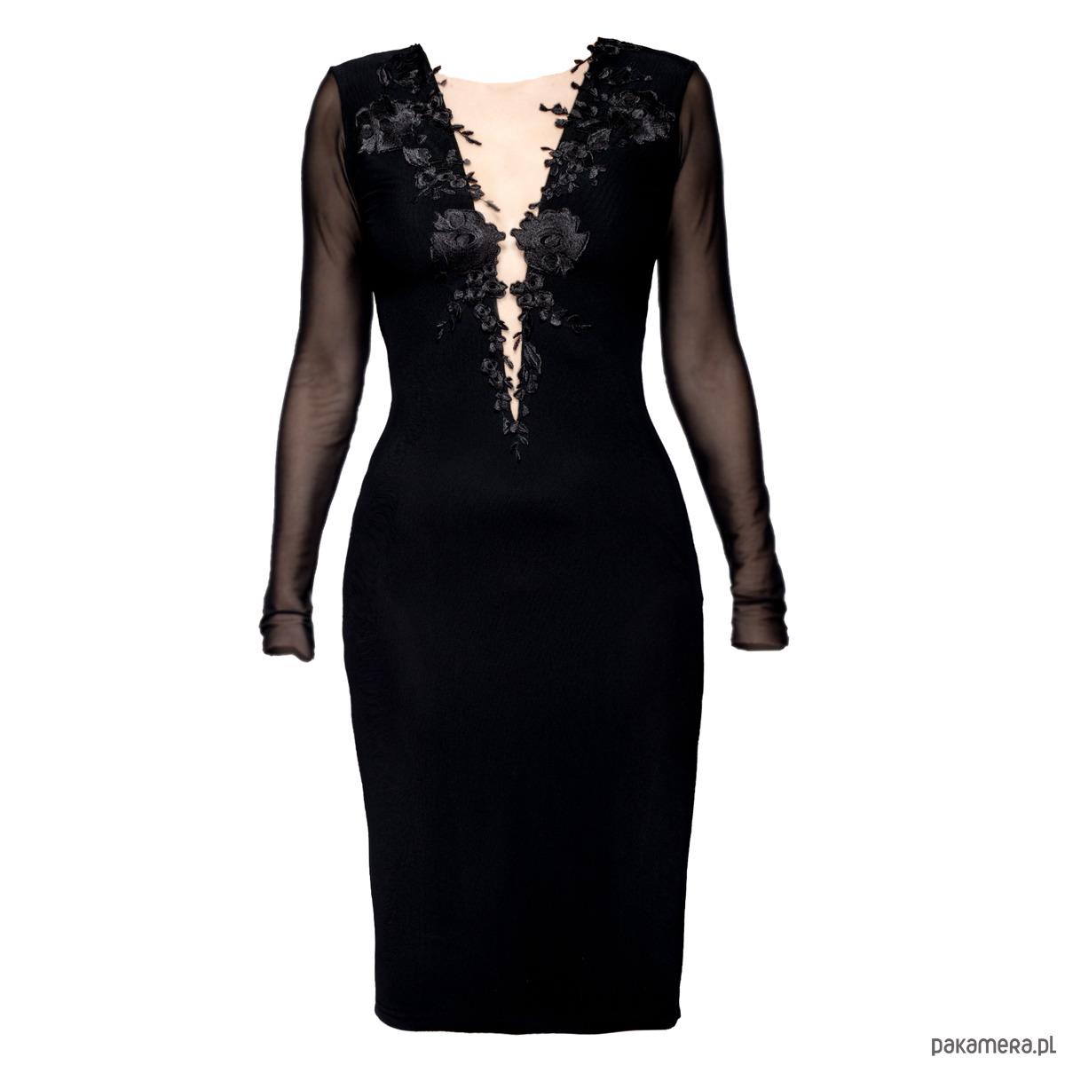 148d7e3fb4cf7c Sukienka z głębokim dekoltem i koronką D118 - Moda - sukienki - midi ...