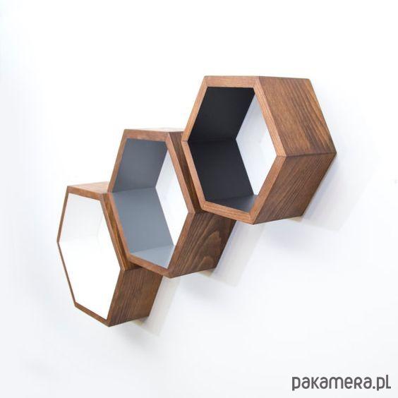 Heksagony komplet dąb półka - 2048500