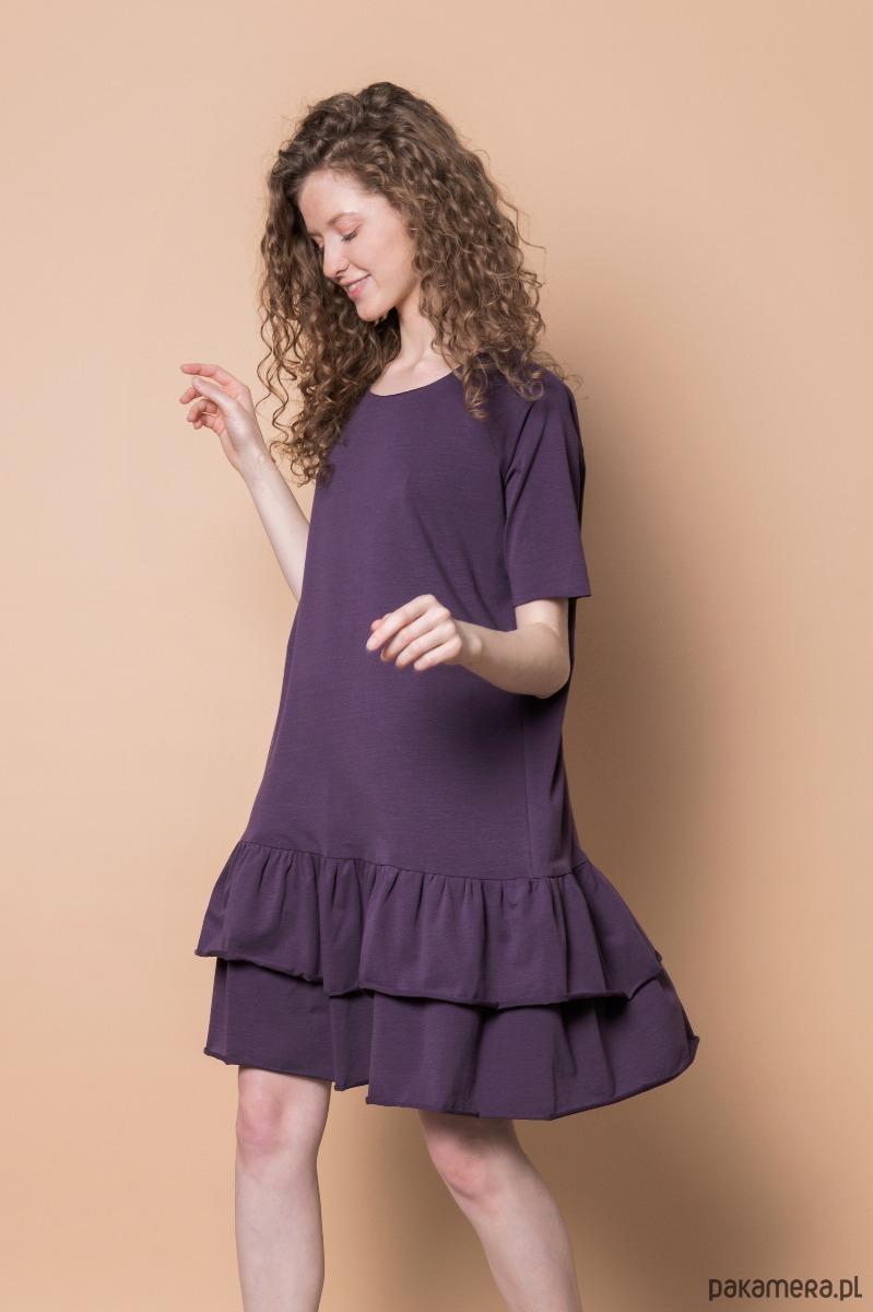 Sukienka z falbanką fioletowa