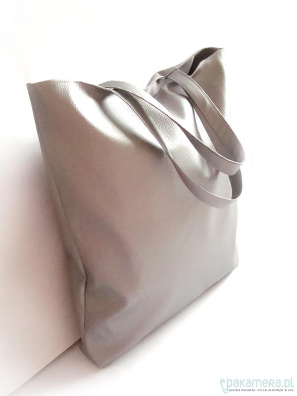 fa69df3d2fdcd shopper bag - srebrna - torby XXL - damskie - Pakamera.pl