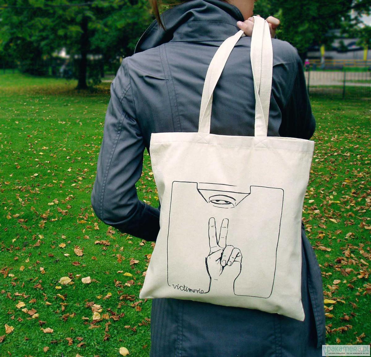 e283f70e27354 Eko torba na zakupy bawełna - Victimorio - ecru - torby na zakupy - damskie  - Pakamera.pl