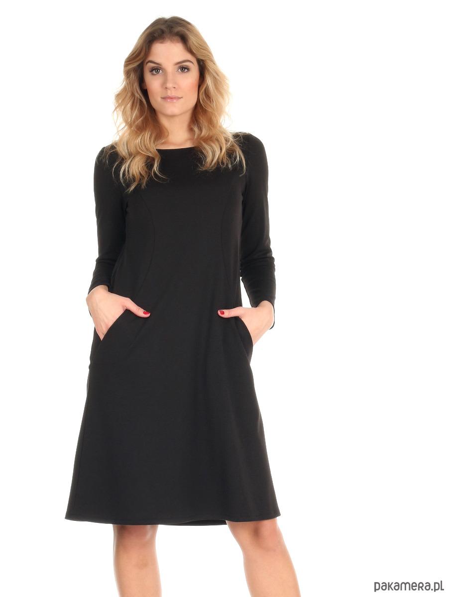 6d44477341 sukienki - mini-Sukienka trapezowa czarna midi