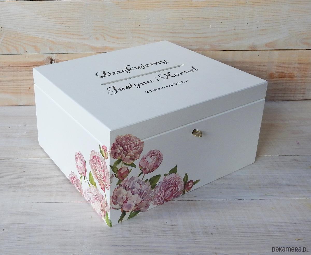 Ogromny Drewniane pudełko na kartki ślubne - PIWONIE - Ślub - dodatki TD91