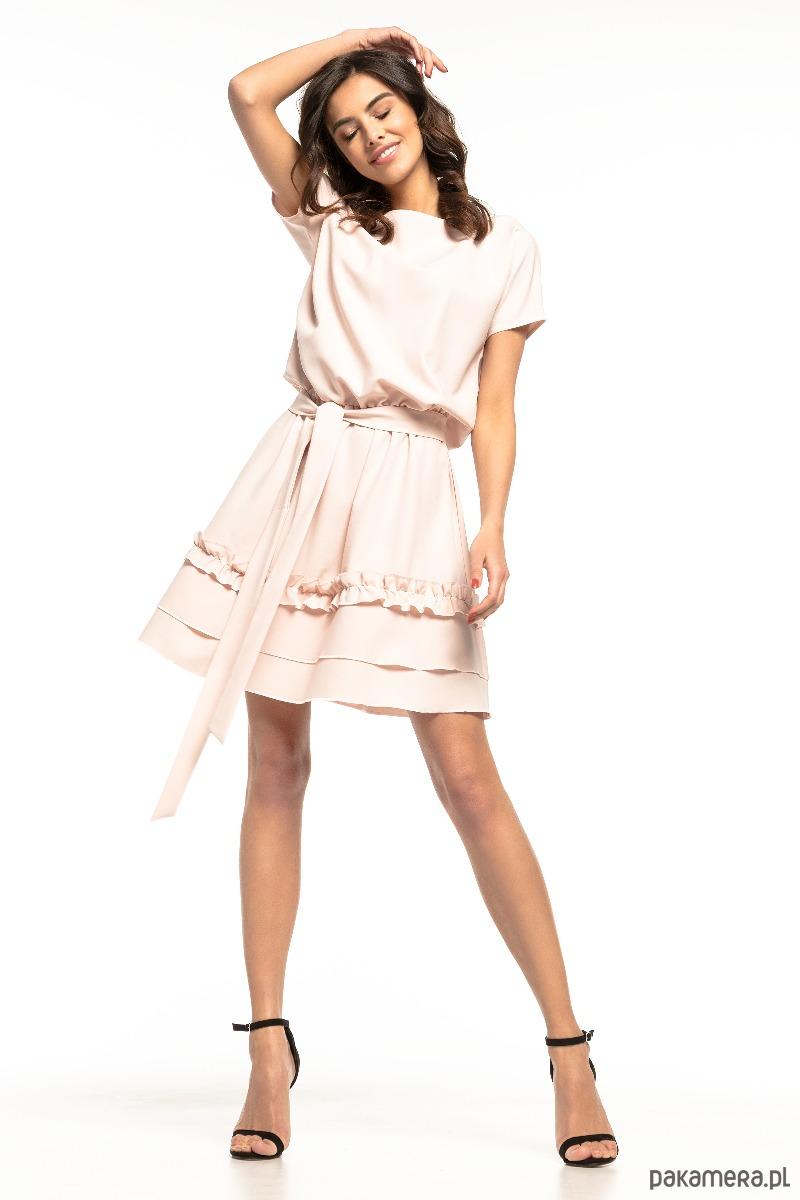 449b2c2cd4 sukienki - mini-Sukienka z falbanką na spódnicy