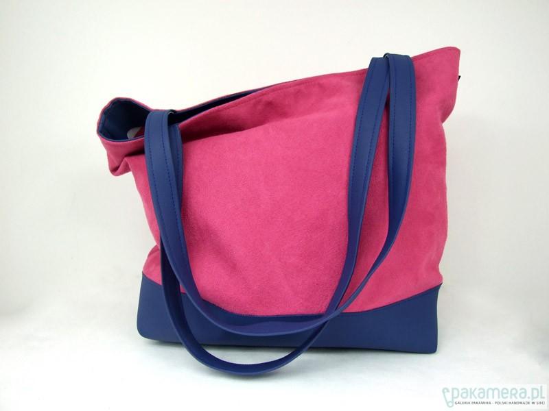 7ecd916819b44 Pojemna torba XL róż i granat - torby na ramię - damskie - Pakamera.pl